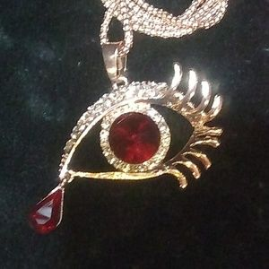 Betsey Johnson Red Eye Cry Necklace
